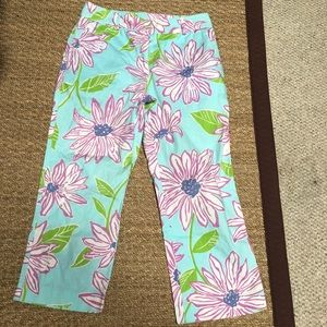 Lilly Pulitzer white label floral capris turquoise